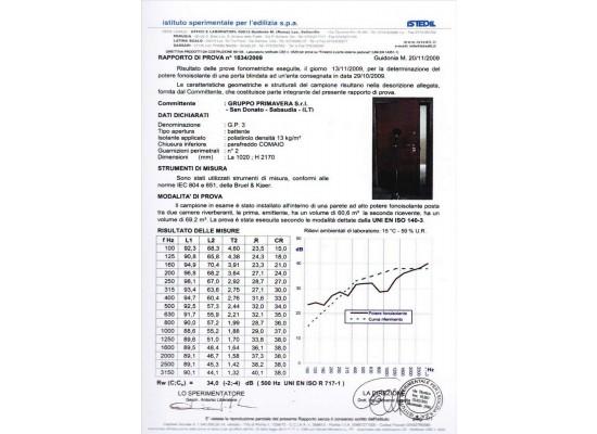 certificato abbattimento acustico 34 db