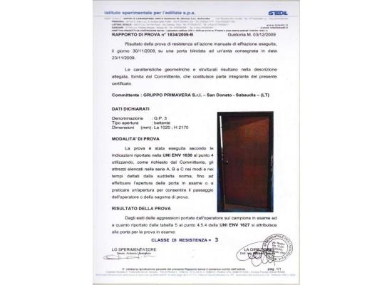 Certificato antiefrazione classe 3