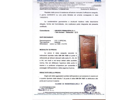 Certificato antiefrazione classe 4