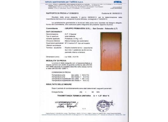 Certificato trasmittanza termica 1,37 W/mqk