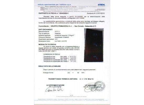 Certificato trasmittanza termica 1,74 W/mqk