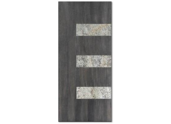 Pannello mod. METEORA quarzite pietra naturale incastonata in pannello rovere 15 mm tinto anice c40