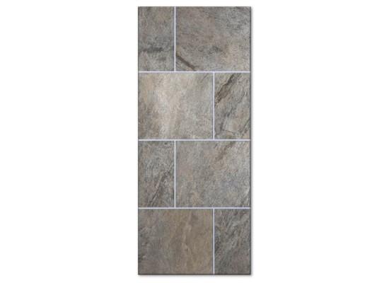 Pannello mod. MONOLITE quarzite pietra naturale incastonata in pannello mdf 18 mm idrorepellente laccato Ral 7040