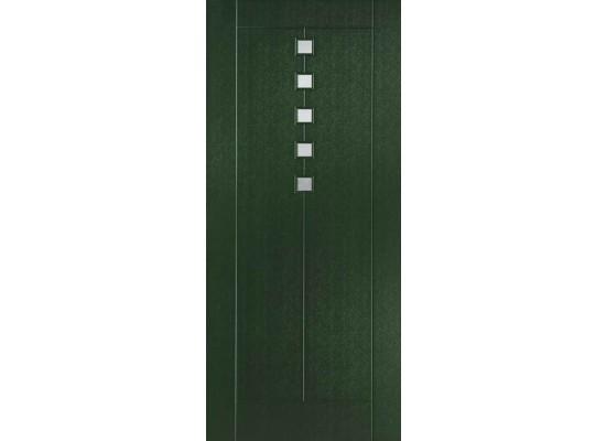 Pannello mod. Titanio rivestito con pellicola verde scuro 6125 e inserti inox